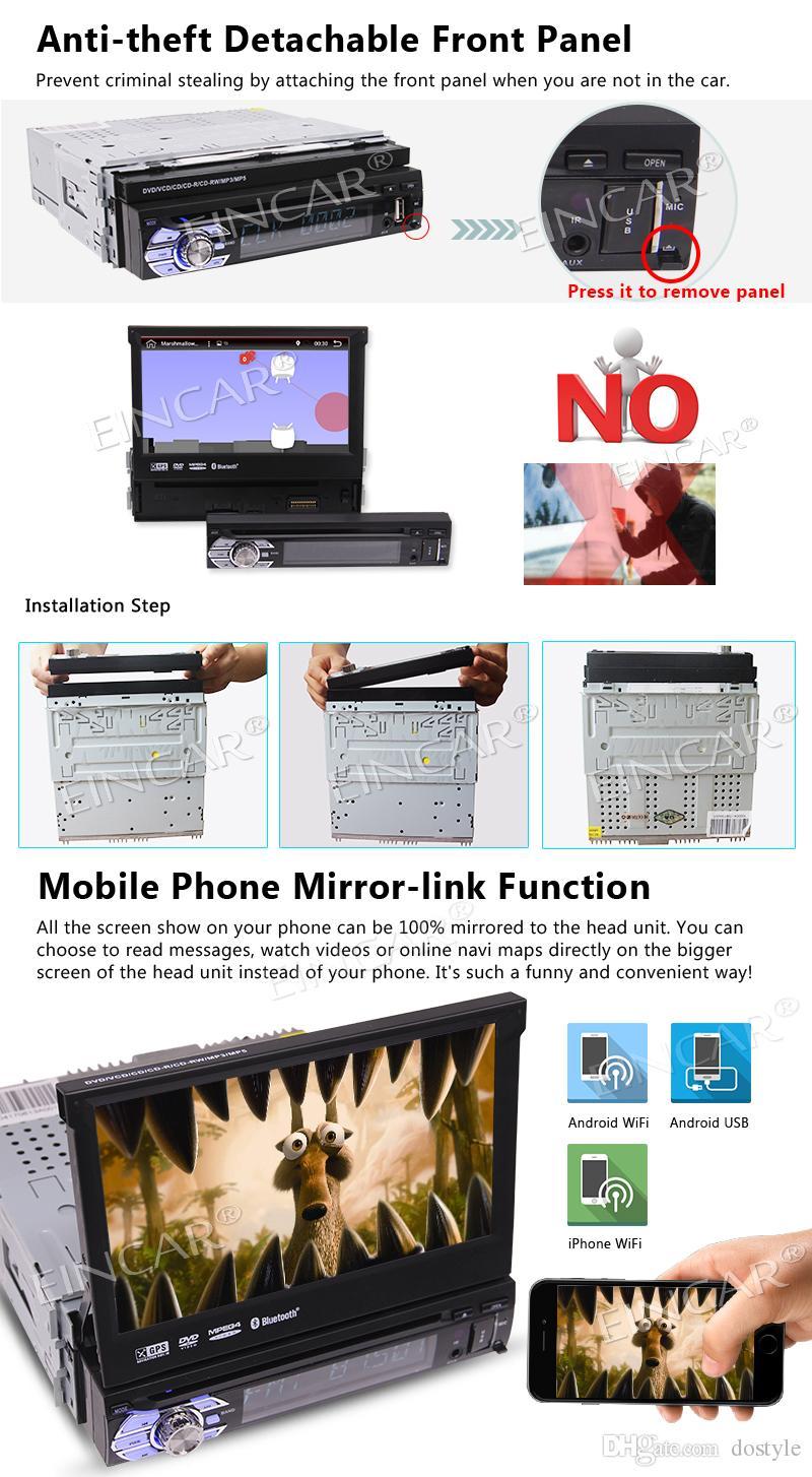 Одиночный блок головки Андроида 6,0 Din стерео автомобиля 7 дюймов с регулируемым углом наблюдения поддержка GPS, игрок компактного диска автомобиля DVD, Bluetooth