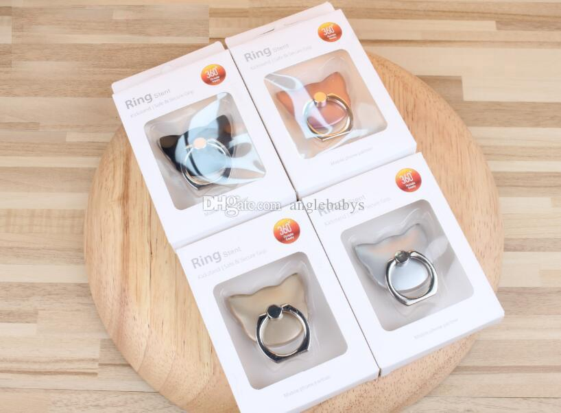2018 Hottest Universal Metal simple cell phone finger ring holder cat stand for all brands of smartphone with retail packages
