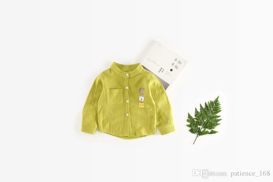 2018 INS NEW ARRIVAL boys Girls Kids long Sleeve cartoon anmial Square face high quality cotton kids casual shirt