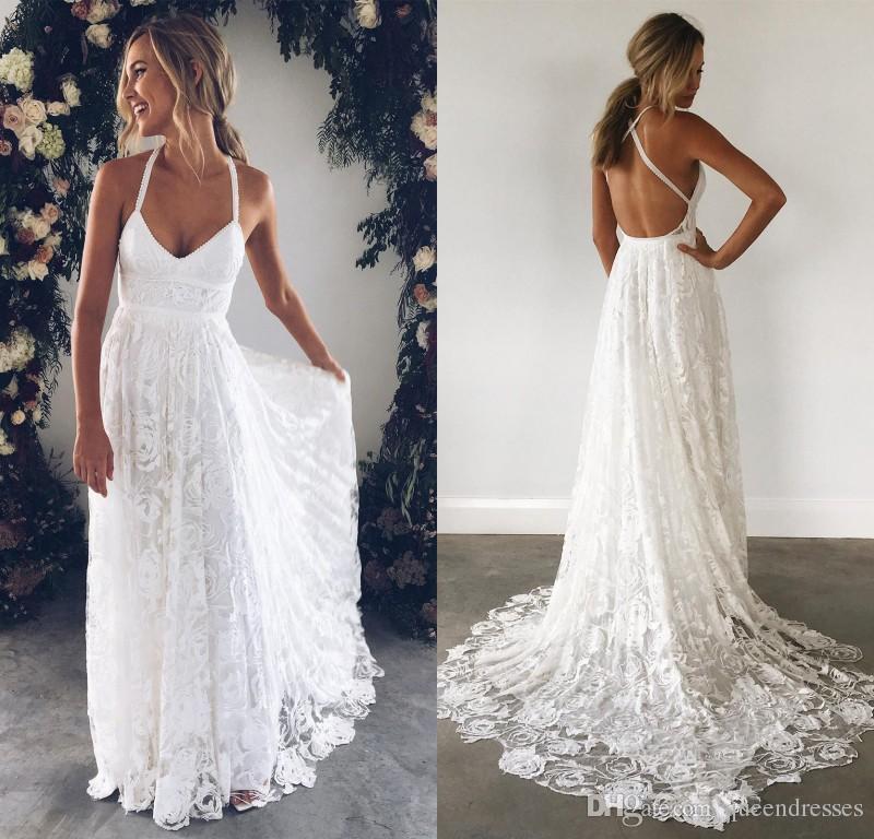 Cheap White Sheath Lace Wedding Dresses Spaghetti Strap Sweetheart ...