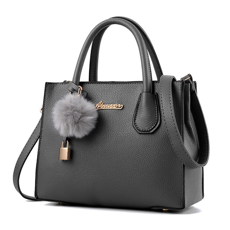 c77727865e490 Women Casual Tote Bag Female Large Shoulder Bags Lady Daily Shopping  Crossbody Bag PU Leather Handbag With Fur Ball Sac A Main Ivanka Trump  Handbags Best ...