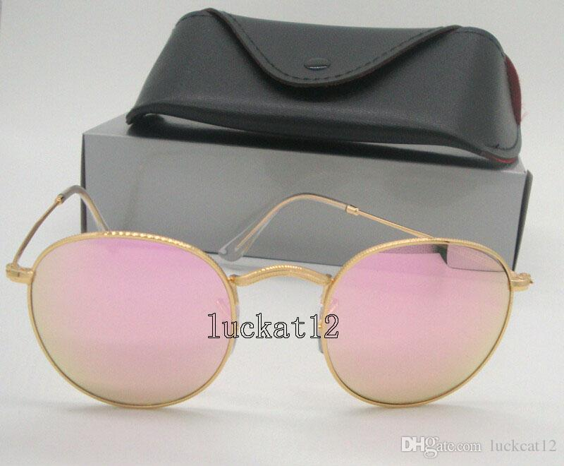 Mens Womens Round Sunglasses Fashion Eyewear Sun Glasses Gold Metal Frame  Pink Flash Mirror 50mm Glass Lenses Come With All Accessories Bifocal  Sunglasses ... 64fd7240af