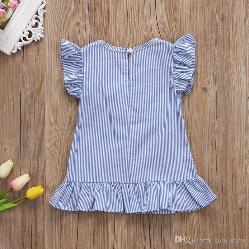 bébé fille robe rayée avec des glands pendentif falbala volant à manches courtes robe princesse