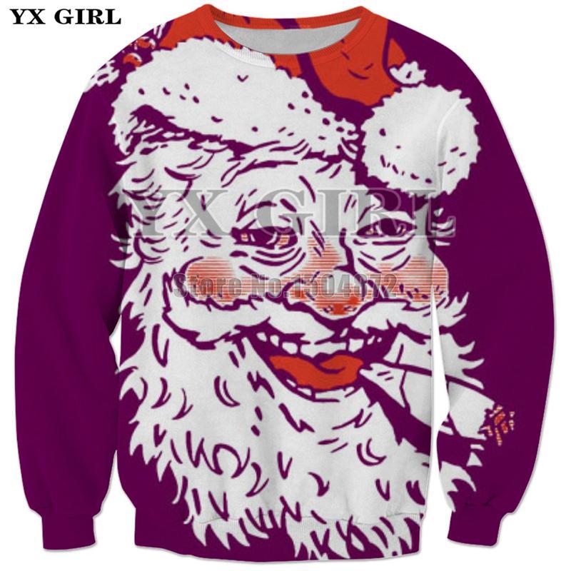 b843a3dd3a95 2019 YX Girl Brand Merry Christmas Gift Fashion Sweatshirt Womens Men S  Santa Claus 3d Print Sweatshirts Unisex Funny Streetwear Tops From Yonnie