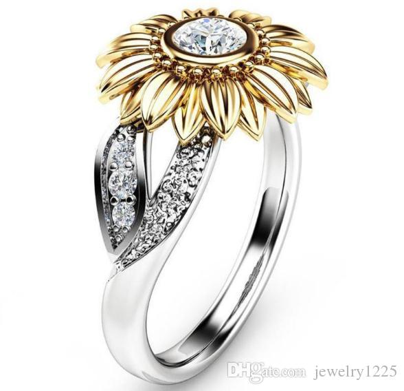 2019 Sunflower Zircon Ring New Diamond Crystal Gold Plated Gem Lovers Marry Upscale Women Jewelry Gift Spot 8 Size