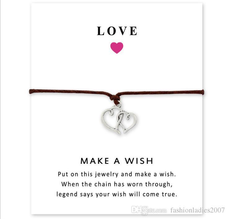 Wish Pulsera Con Tarjeta de Regalo Dog Paw Love Unicorn Teacher Charm Bracelets Bangles for Women men Friendship Jewelry Jewelry Greeting Cards