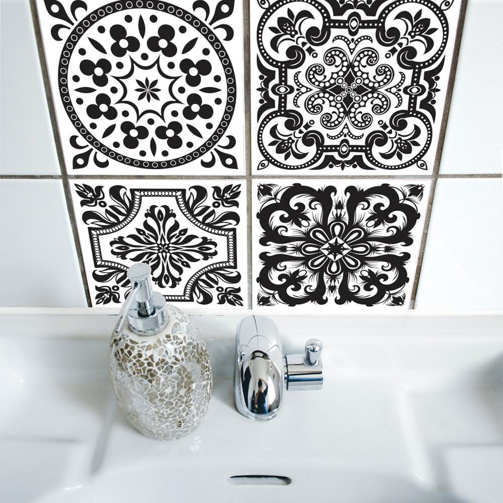 Großhandel Funlife Badezimmer Wand Schwarz Und Weiß Muster ...