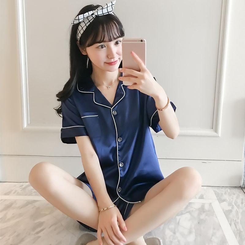 2019 Silk Pajamas Female 2018 Womens Silk Satin Pajamas Set Short Sleeve  Pajama Pyjamas Set Sleepwear Loungewear Pyjamas Suit From Youerclothing 206714a68