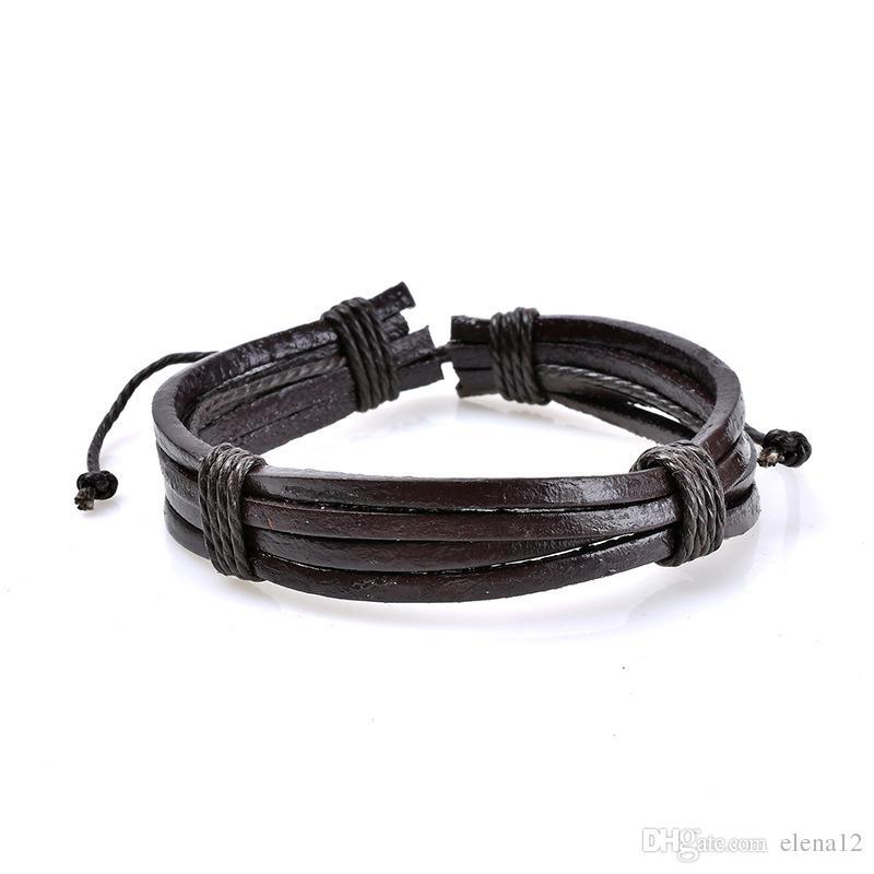 brown blue Wristband PU Leather Charm Bracelet Men Jewelry Punk Vintage Braided Leather Bracelet For Men Male women drop ship 320098