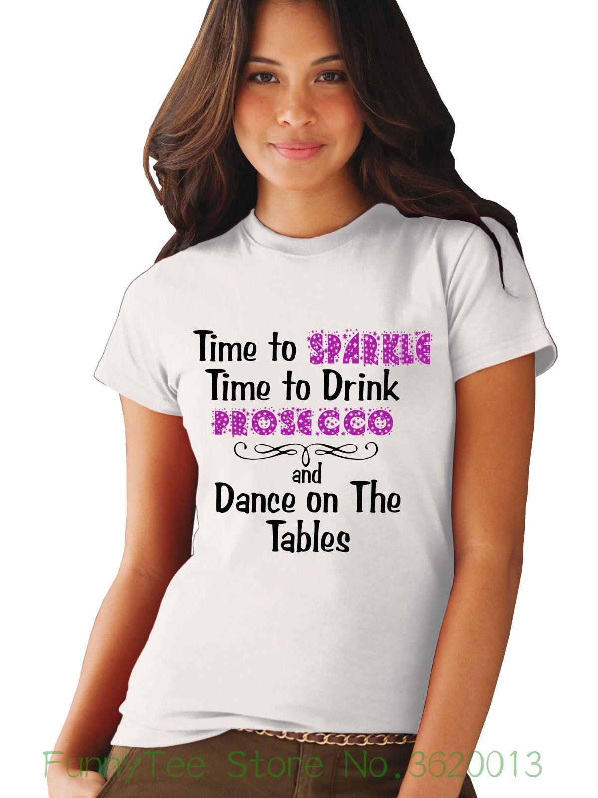 Compre Hora Das Mulheres Tempo De Brilho Para Beber Prosecco E Dança Ladies  Fitted Camiseta Feminina T Shirt Kawaii Do Punk Tops Tee De Funnyteestore d3e810c087f8c