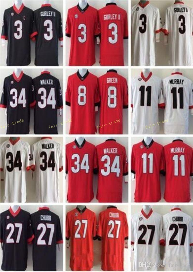 f45dd12888c NCAA Georgia Bulldogs #3 Todd Gurley II 7 D'Andre Swift 11 Jake Fromm 27  Nick Chubb 34 Herchel Walker White Red Black Stitched College