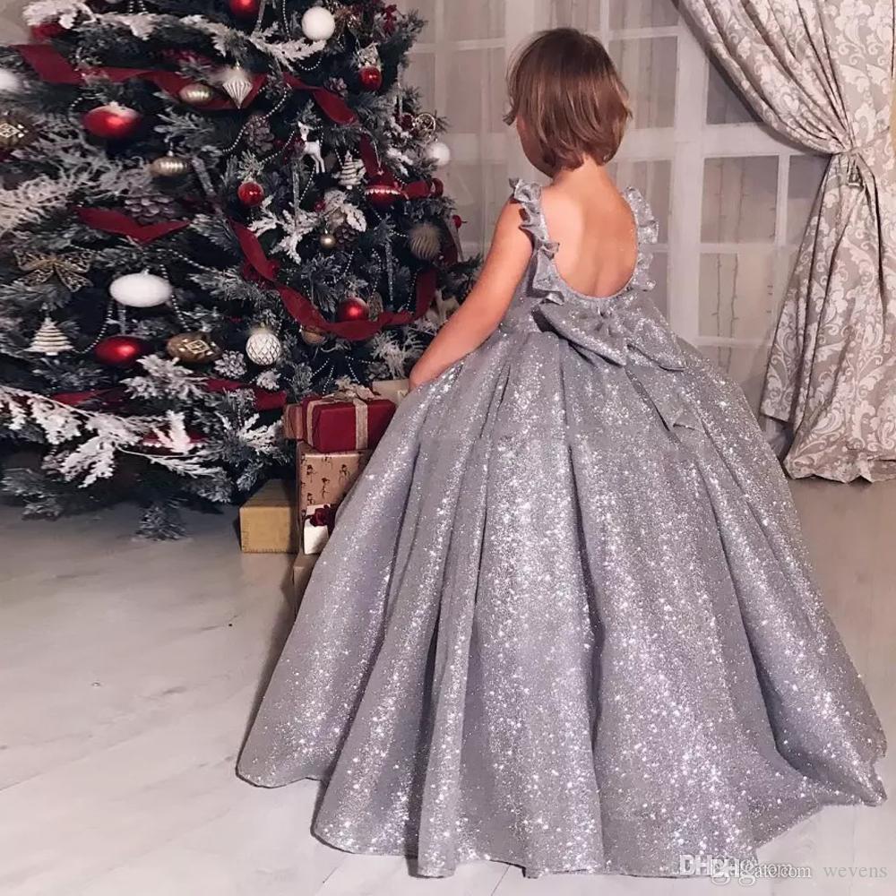 Brillant Sliver Gary robe de bal robes fille fleur pour la soirée pailletée O-Neck avec Bow Little Girls Birthday Party Dress étage Longueur