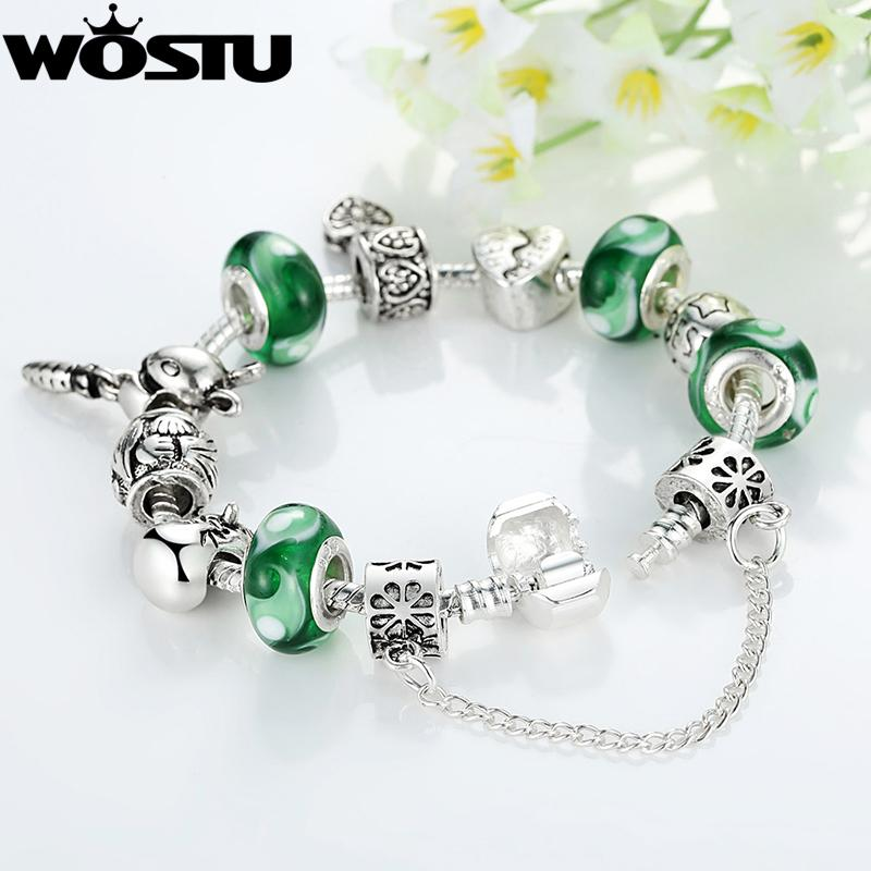 New Arrival Silver FriendShip Charm Bracelet for Women DIY Green Beads Fit WST Original Bracelets Pulseira Gift SDP1433