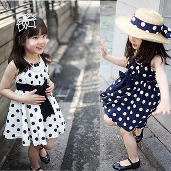 2017 Summer Polka Dot Girls Dress ,for 2~6y Baby Girls Wave Point Dress Kids Wear Casual Children Clothing, Available
