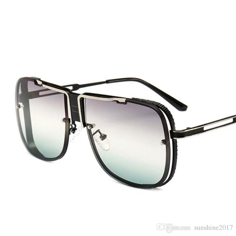 tout neuf e3fa2 2d602 Oversized Sunglasses 2019 Designer Brand Luxury Men Vintage Glasses Metal  Frame Fashion Square Sunglasses Male Lunettes de soleil homme