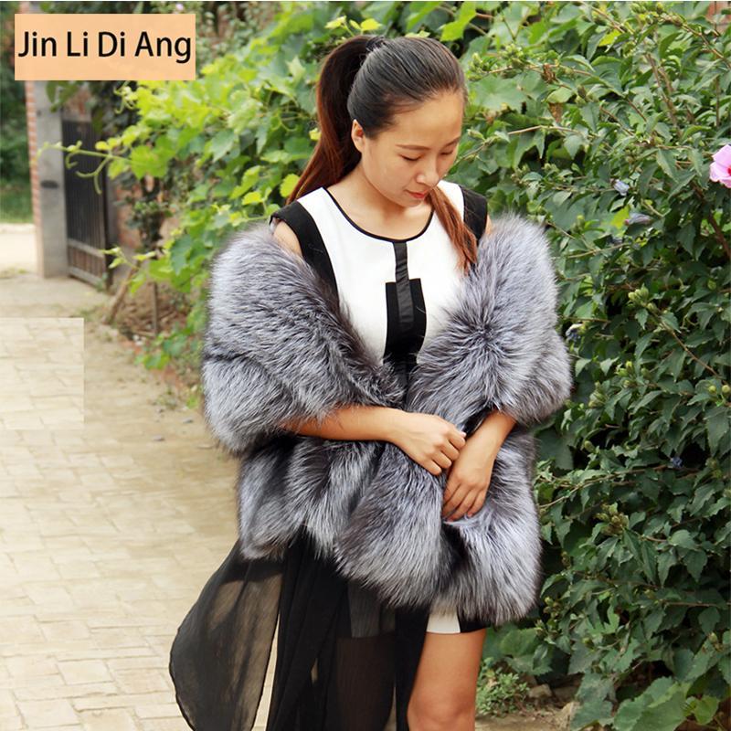Jin Li Di Ang Fur Scarf New Fashion Royal Women Romantic Ultra Wide Long Cape Full Pelt Real Silver Fox Fur Cape Muffler Scarf