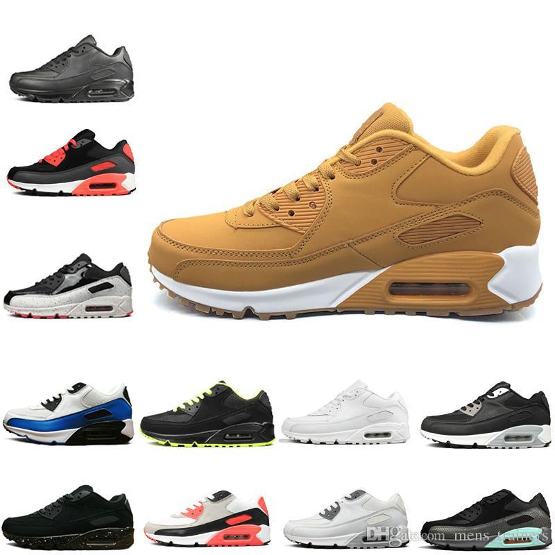 483516ee1e4 Compre Nike Air Max 90 2019 Original Clássico 90 S Preto Branco Amarelo  Para Mulheres Dos Homens Venda Quente Sapatos De Corrida Dos Homens 90  Sneakers ...