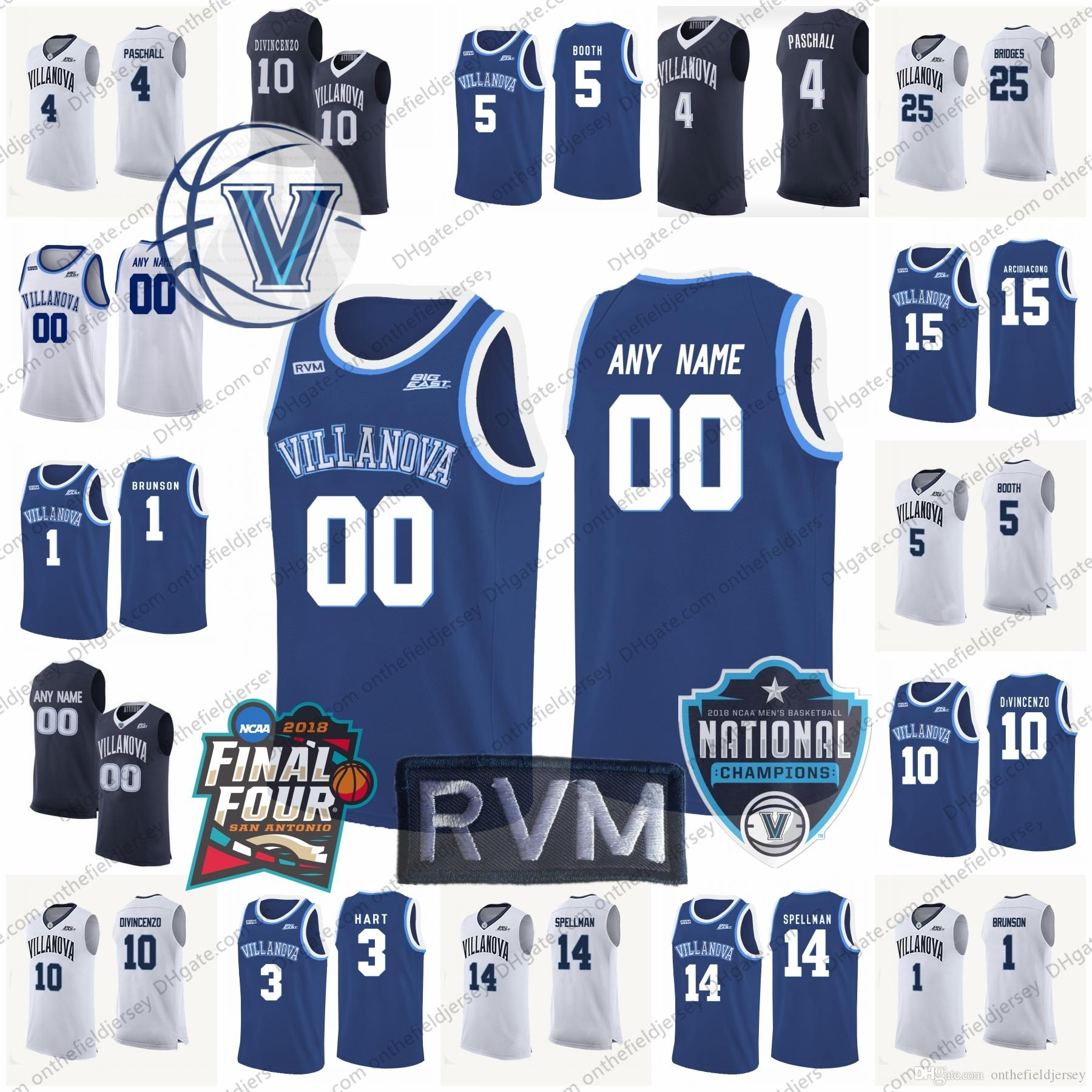 2019 Custom Villanova Wildcats Basketball Jerseys Any Name Number 2018  Final Four   Champions Patch  10 Donte DiVincenzo 1 Jalen Brunson S 3XL From  ... bb9819261
