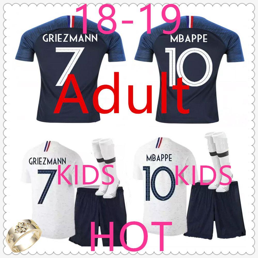 Camiseta France Kids Camiseta De Futbol Mbappe Camisetas De Futbol Home Away  Camisa Para Niños Camiseta France Adult Griezmann Soccer Jersey Football  Jersey ... faa8bf9d51b62