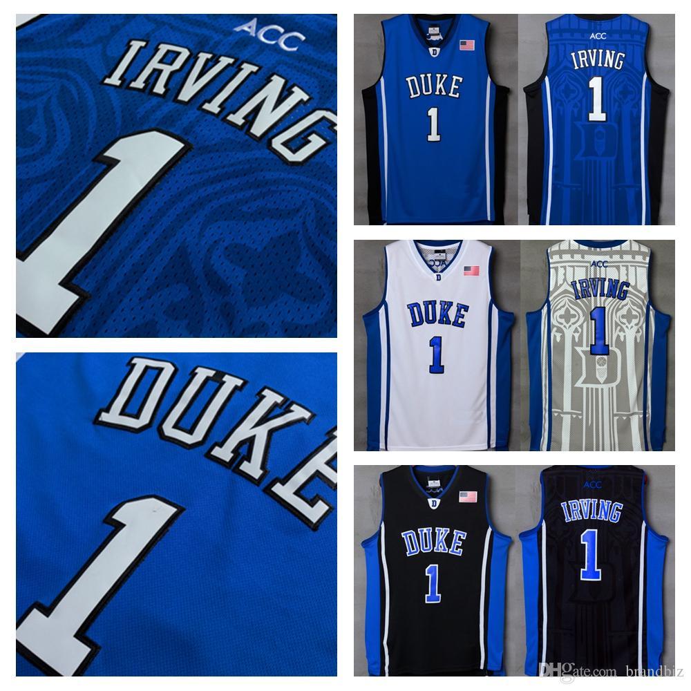 c46bc0f81eb3 Großhandel Hohe Qualität Duke Blue Devils   1 Kyrie Irving Jersey Ncaa Blau  Weiß Schwarz Männer Kyrie Irving University College Basketball Jersey Shirts  Von ...