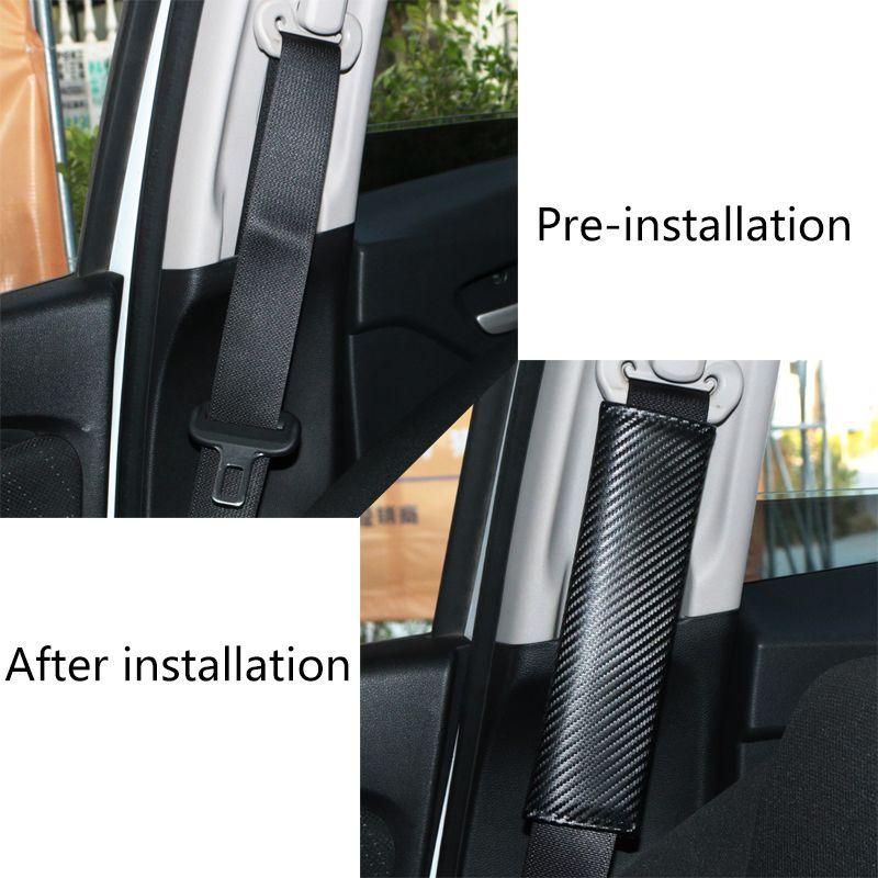 Yeni S line RS Geliştirme Araç Emniyet Emniyet Kemeri Kapak Yumuşak Karbon Fiber Tahıl audi Araba Styling için PU Kayış Kapağı