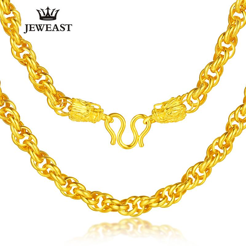 18e56705a10df 24K Pure Gold Necklace Real AU 999 Solid Gold Chain Generous Men s Faucet  Buckle Upscale Solid Classic Jewelry Hot Sell New 2018