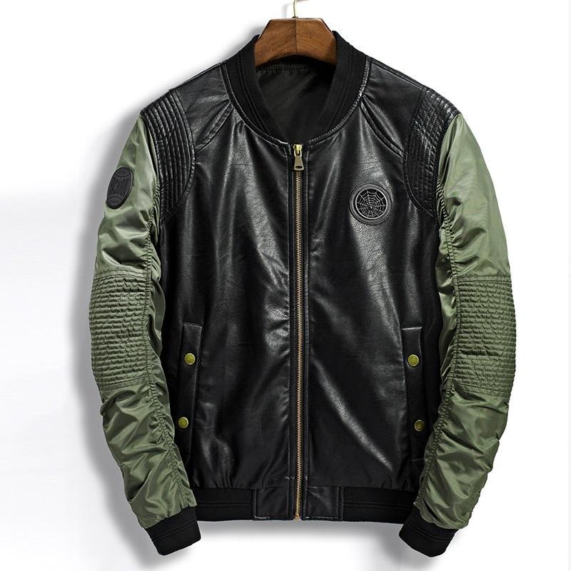 quality design c3690 248c0 Giacca in pelle da uomo all ingrosso bomber in pelle moda patchwork casual  volanti bomber primavera pilota in eco-pelle giacca cappotto moto nero ...