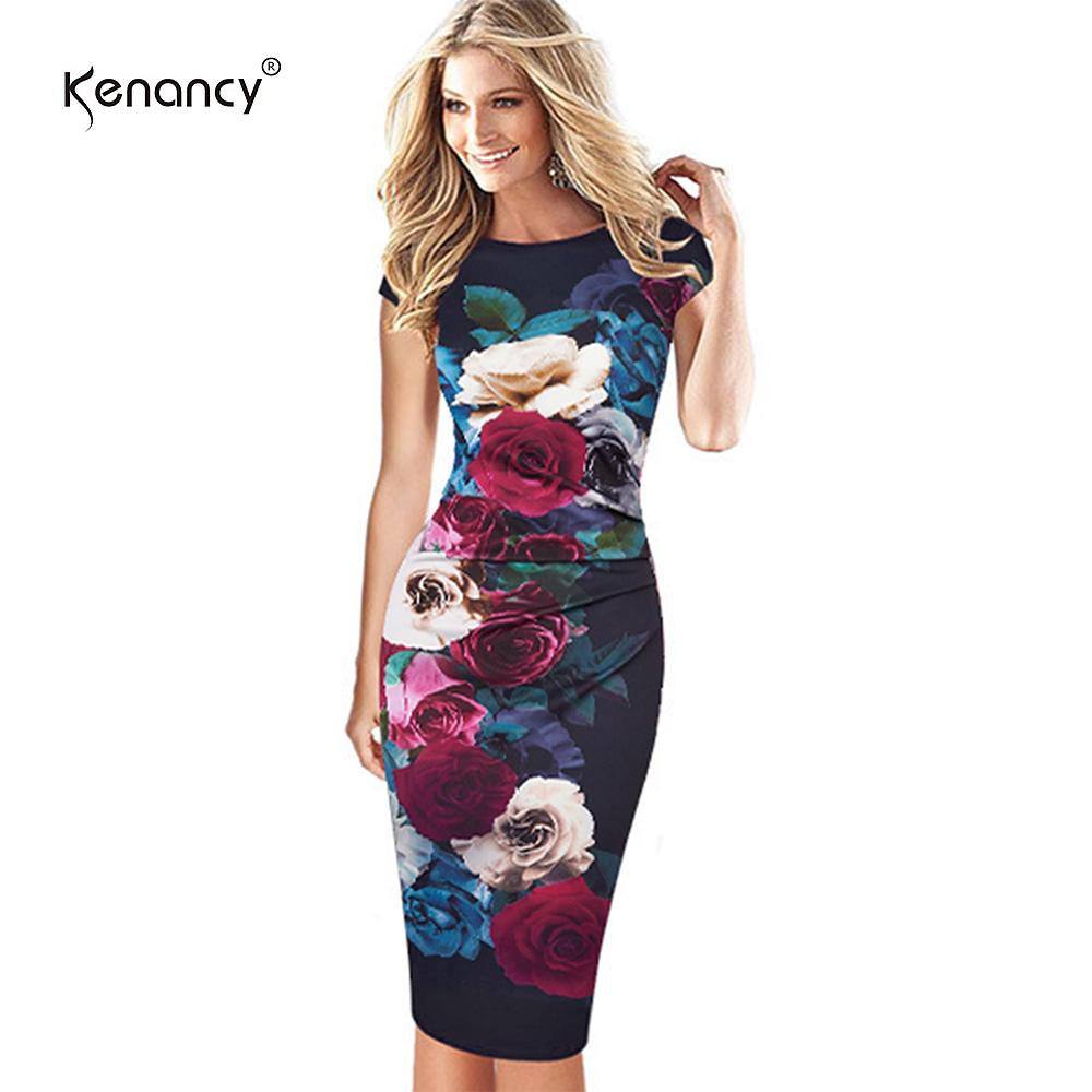 Compre Kenancy 4XL Plus Size 3D Floral Print Stretch Plisado Vestido ...