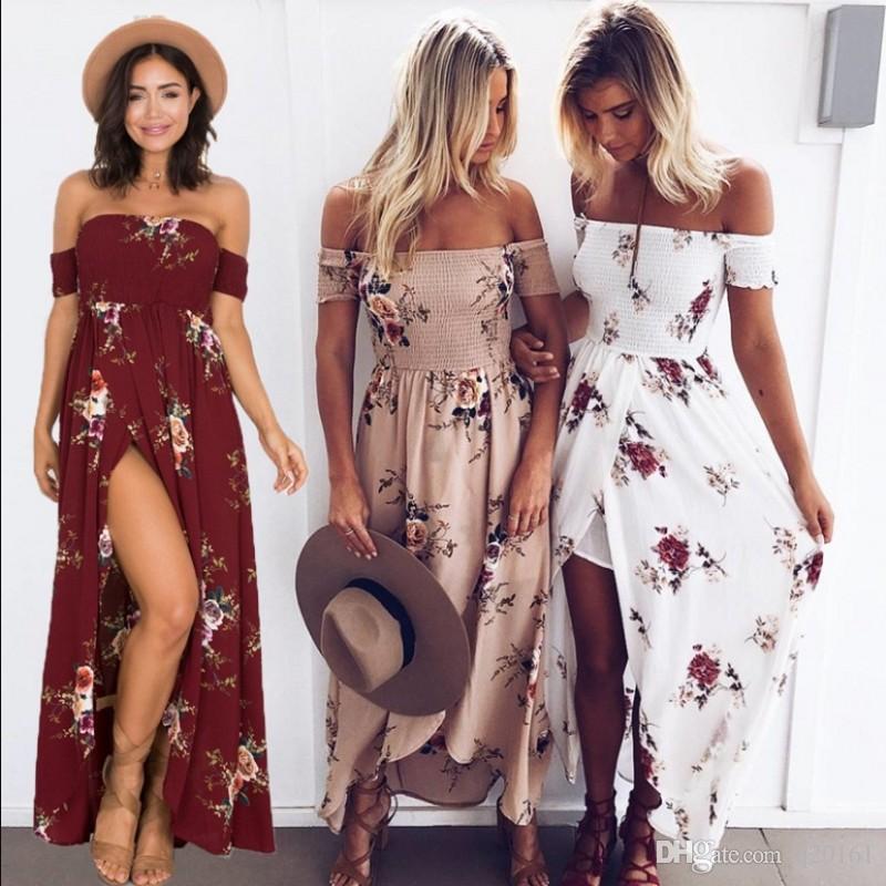 뜨거운 판매 여자 플로랄 프린트 Strapless Boho 드레스 이브닝 가운 파티 긴 맥시 드레스 여름 Sundress 캐주얼 드레스 플러스 사이즈 XS - 5XL