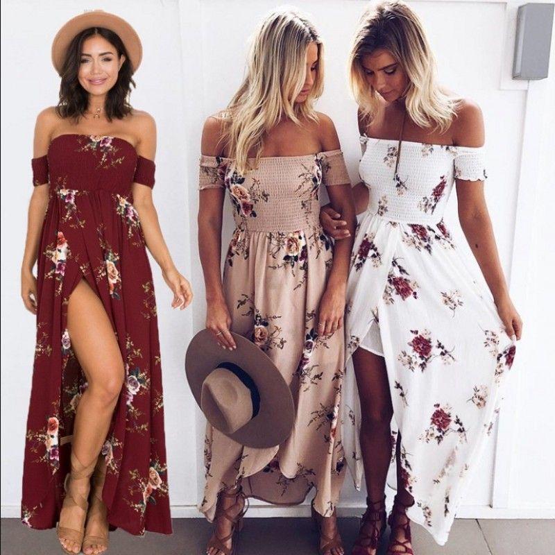 Vente chaude Femmes Floral Imprimer Sans Bretelles Boho Robe De Soirée De Soirée Longue Maxi Robe Robe D'été Robes Occasionnelles, plus la taille XS-5XL