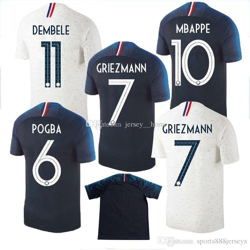 outlet store e0263 fe205 thai quality Maillot de foot GRIEZMANN 7 POGBA 6 MBAPPE 10 Soccer jerseys  2018 world cup MARTIAL DEMBELE KANTE Jersey football shirts