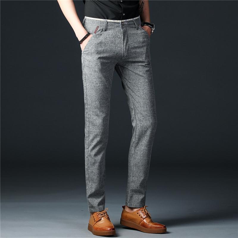 be921c2ccf8 Compre Nuevo 2018 Hombres Ropa Gris Hombres Pantalones De Trabajo De  Negocios Pantalones Casuales Hombres Estilo Coreano Pantalones Formales  Masculinos Slim ...