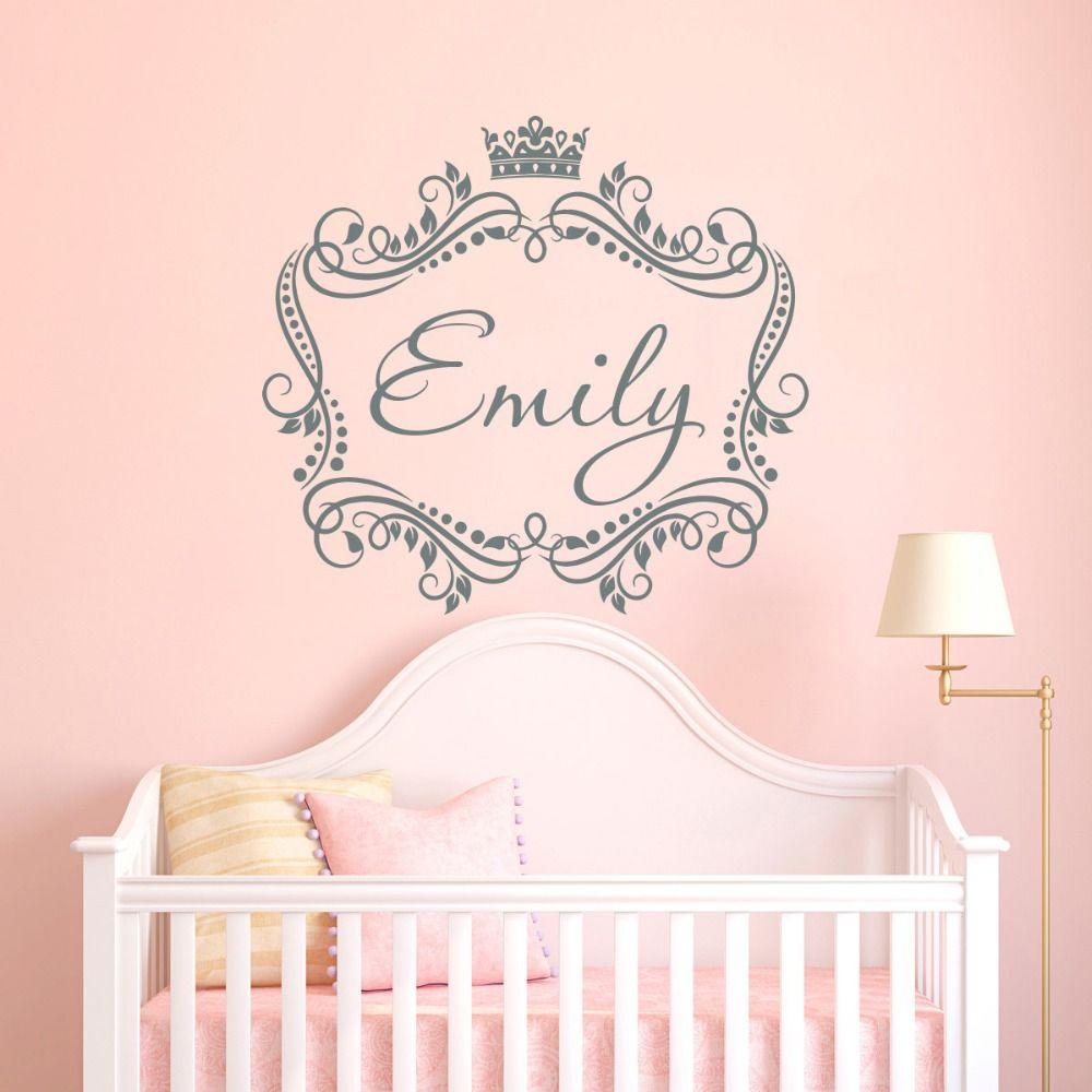 Großhandel Baby Mädchen Name Custom Made Wandtattoo Prinzessin Crown