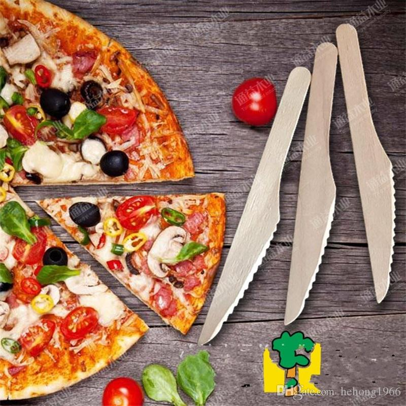 Disposable Knife Tableware Woodiness Pizza Cutter Wooden Creative Solid Color Kitchen Restaurant Bar Flatware Hot Sale 0 08ty V