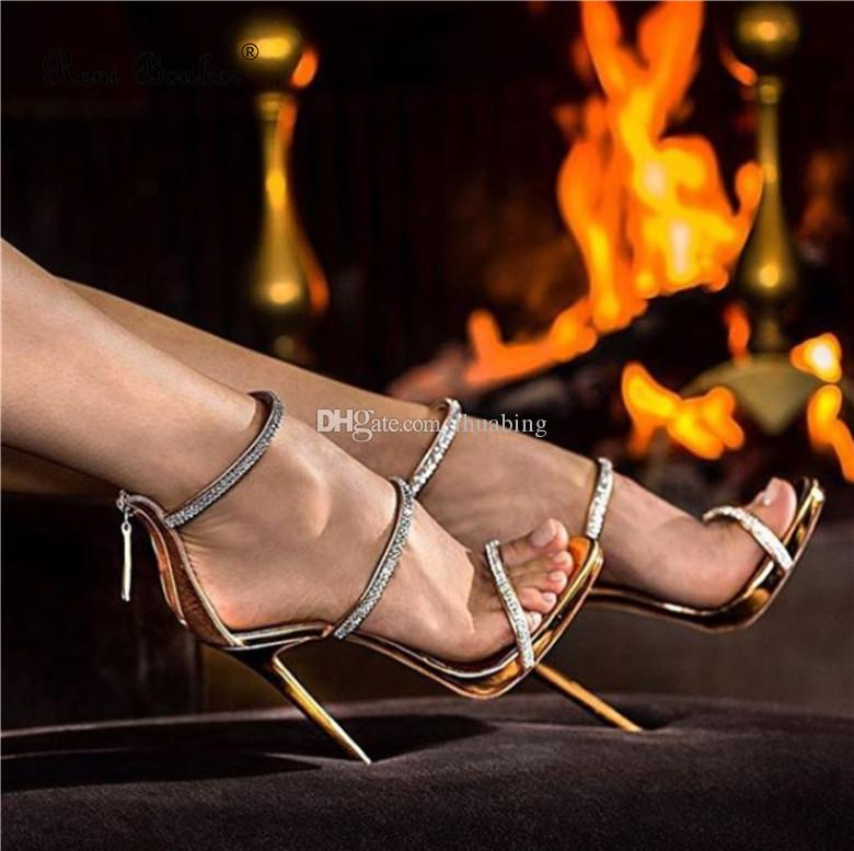 Women Rhinestone Open-Toed Sandals Roman Style Summer High Heels Sexy Fashion Ladies Party Shoes Drop ship