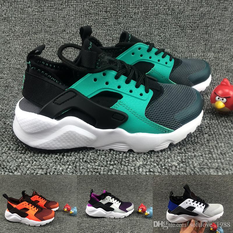 af5934db06a 2018 Black Red Air Huaraches Kids Running Shoes For Boys Girls White ...