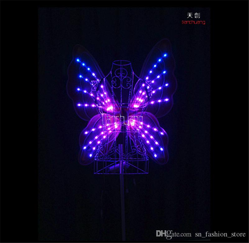 TC-171E Full color RGB led wings luminous led costumes butterfly belly dance dress clothes glowing stage wears women dance led performance