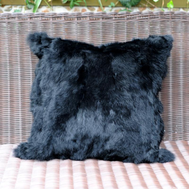 Cx D 40m Hot Sale 4040cm Popular Handmade Black Color Solid Real Mesmerizing Rabbit Fur Pillow Cover