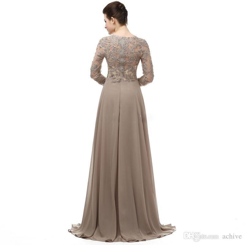 Unico chiffon in pizzo madre della sposa abiti maniche lunghe in rilievo marrone abiti da sera piano lunghezza madre dello sposo abiti su misura
