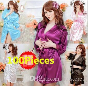 d7069b71ee Sexy Lingerie Sexy Ice Silk Bathrobe Nightdress Kimono Pajamas Sweat ...