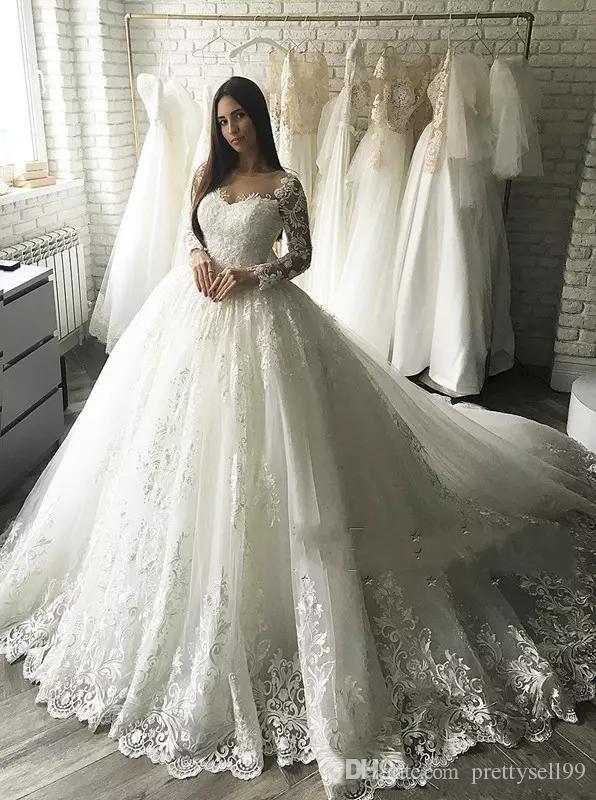 Personnalisés manches longues Robes de Mariée 2019 avec Appliqued Jewel cou tribunal train Tulle bal Robes de mariée Robes de mariée