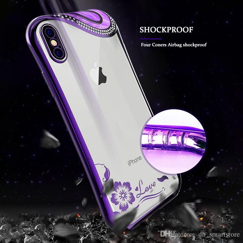 07f6fa1797 Luxury Bling Crystal Diamond Bowknot Case For iPhone xs max xr X 8 7 6 6S  Plus Soft TPU Cover Glitter Plating Slim Clear Phone Cases Shell