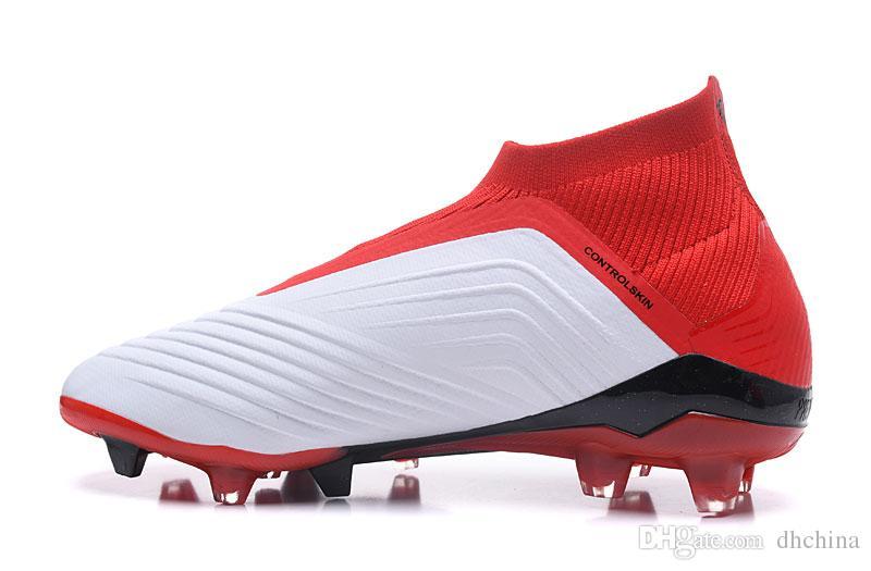 a94db89079a Compre Zapatos Nuevos 2018 Predator 18 Zapatos De Fútbol FG Blanco Color  Rojo Deportes De Alta Calidad Al Por Mayor Zapatos De Fútbol FG Tamaño EE.  UU.
