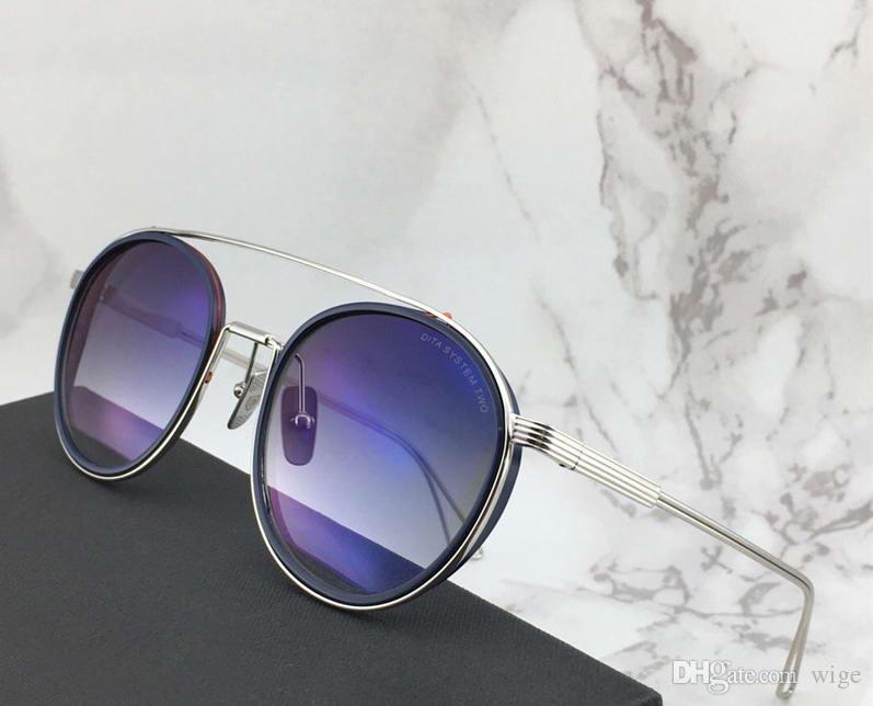 8c5494e1f4176 Compre Designer Óculos Sistema De Dedos Dois Óculos De Sol Piloto Prata    Azul Sombreado Gafas De Sol Mens Designer De Luxo Óculos De Sol Tons Novo  De Wige, ...