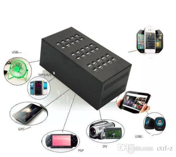 Schnelles 20 40 60 multi Hafen-USB-Tischladestation für Tablette iPad iPhone samsung bewegliches Schwarzes US Großbritannien EU-Stecker