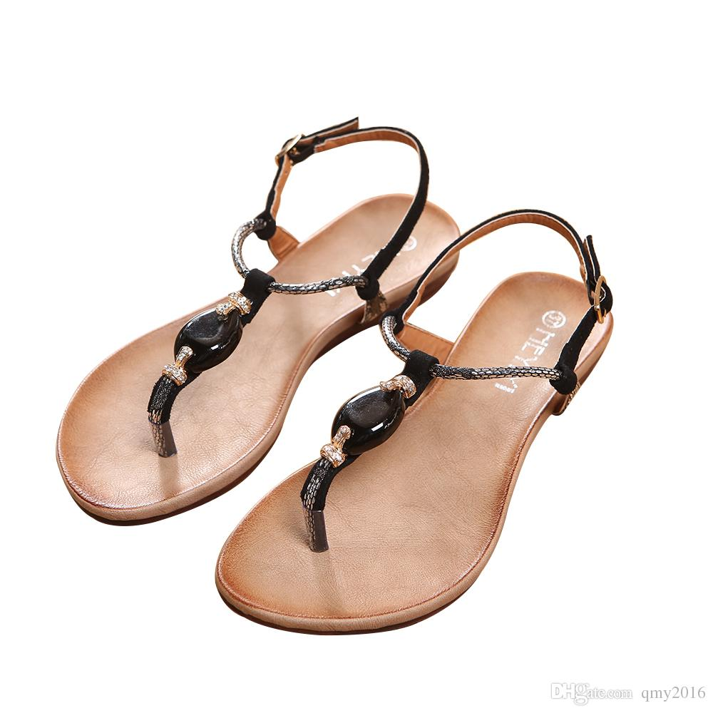 ff1e6590033b3a Flats Shoes Women S Sandals Thong Women Shoes Flip Sandals Diamond Summer  PU Leather Shoes Beach Soft T Strap Ladies Platform Sandals Wedges Shoes  From ...
