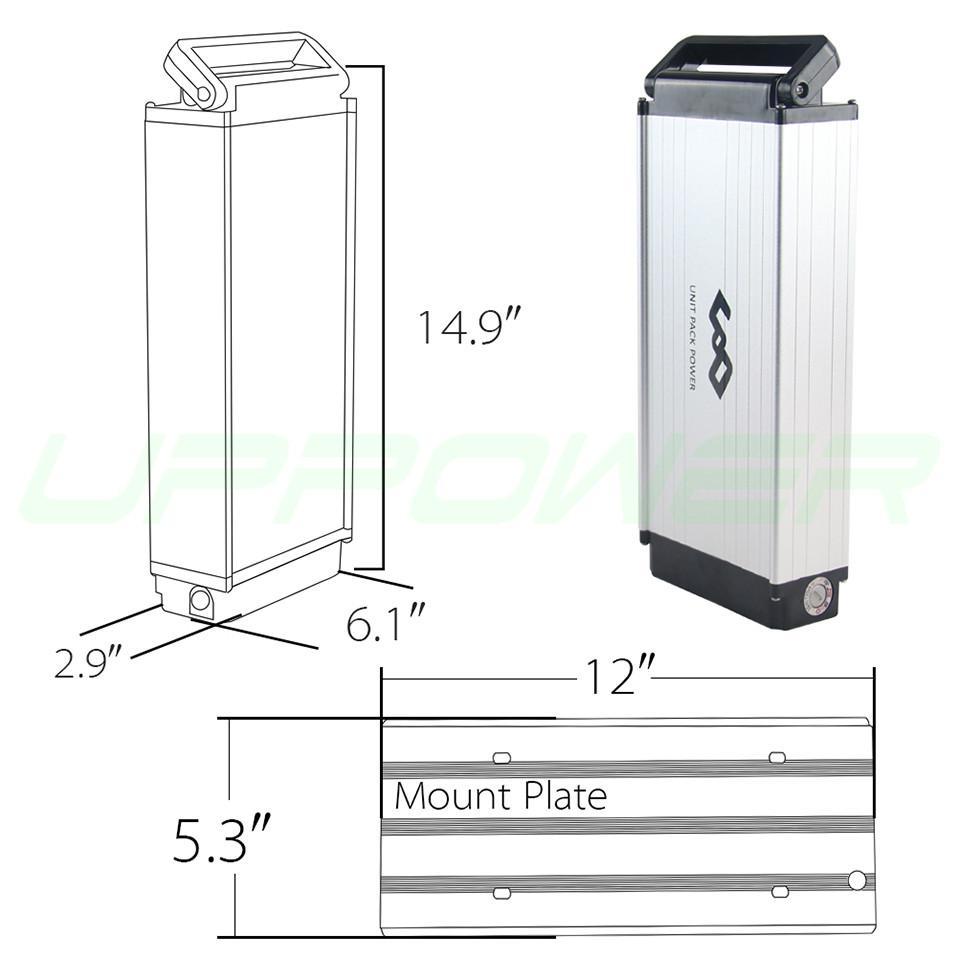 US EU No Tax Cassa in lega di alluminio Portabici elettrico posteriore Batteria 48V 10Ah Batteria al litio 500W Batteria ricaricabile Li-ion eBike + Caricabatterie