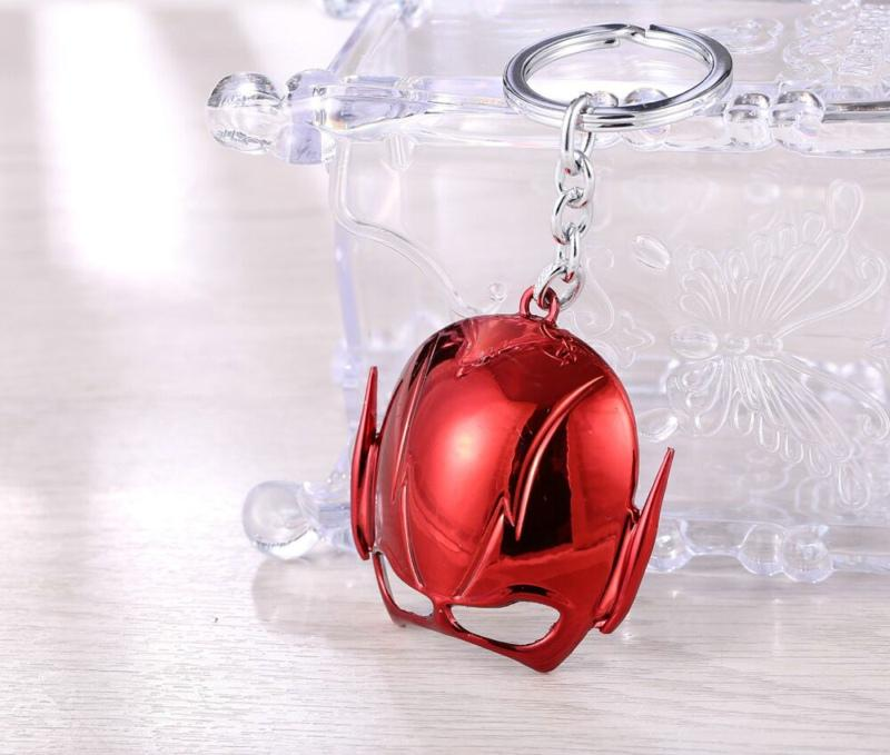 Trendy Silver Plated Alloy children Anime The Flash helmet KeyChain red The Flash mask KeyChain The Flash Key chain Ring Pendant 2018 y091