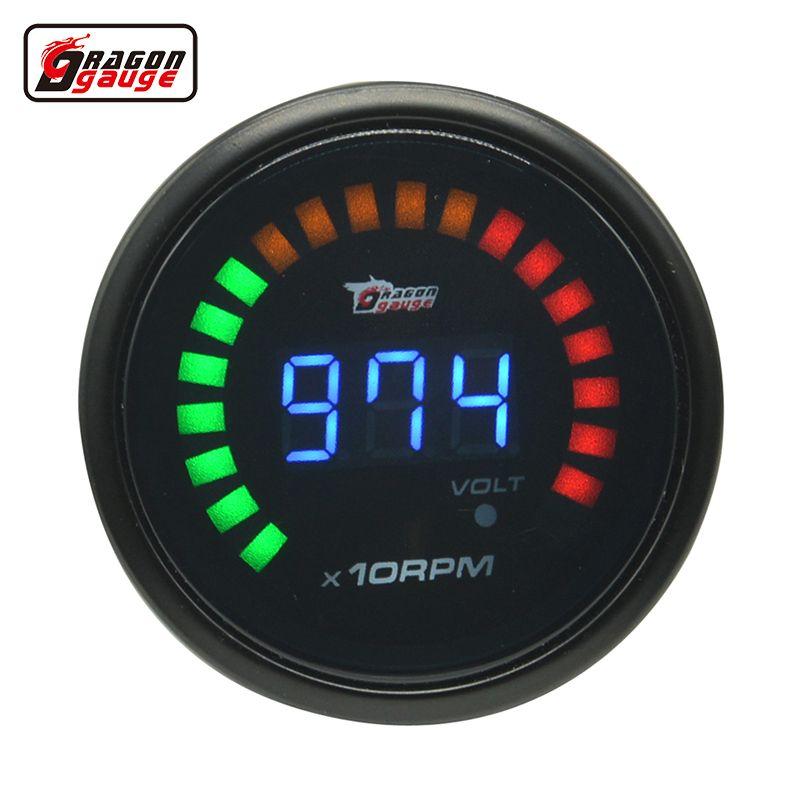 Dragon gauge 52mm Black Shell Auto Car Digital Smoked 20 LED Auto RPM Tacho  Tachometer and volt gauge Meter