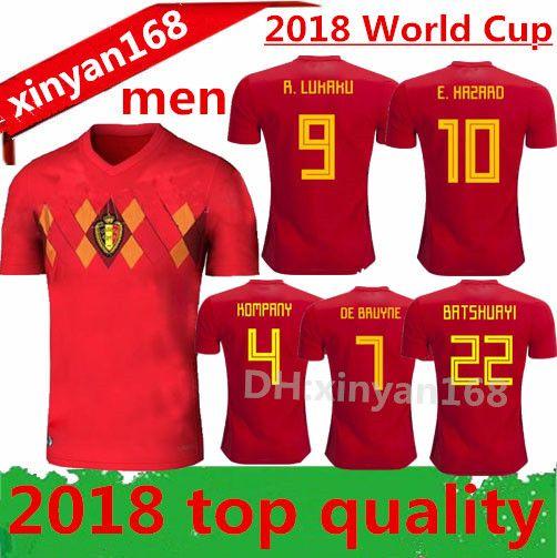 6d322962e 2019 Thailand Quality 2018 New World Cup Belgium Soccer Jersey 18 19 Home  Red LUKAKU FELLAINI E.HAZARD KOMPANY DE BRUYNE Belgium Football Shirt From  ...